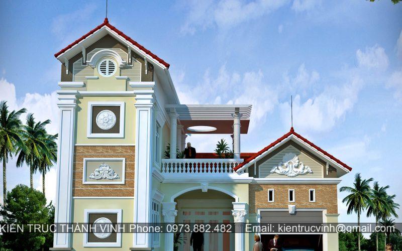 Thiết kế thi công biệt thự tại thành phố Vinh - Nghệ An, Thiết kế thi công biệt thự tại Nghệ An, Thuê kiến trúc sư thiết kế biệt thự tại Vinh