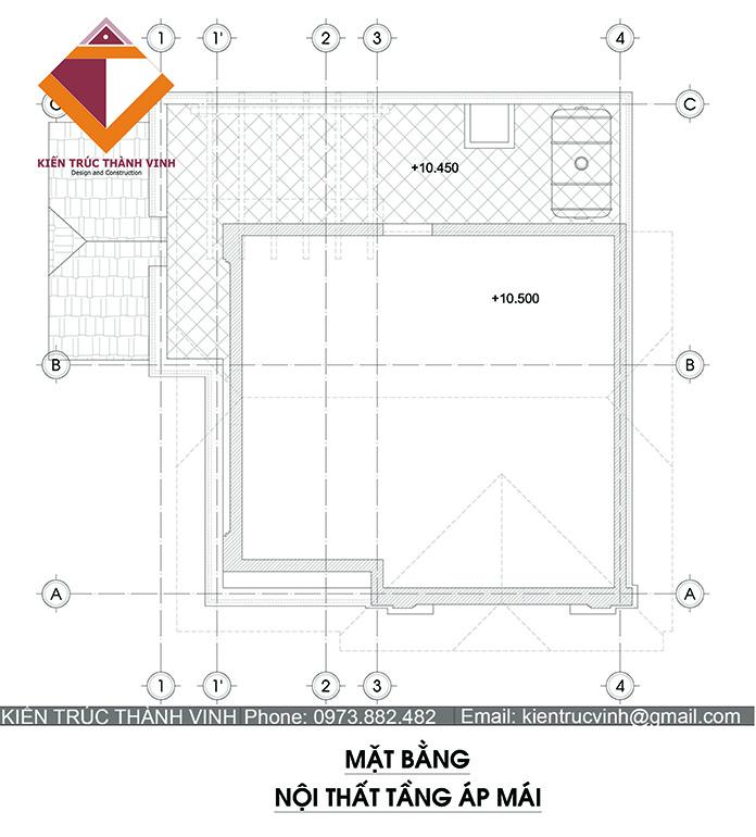 Mặt bằng tầng 4 thiết kế biệt thự tại thành phó Vinh nghệ an
