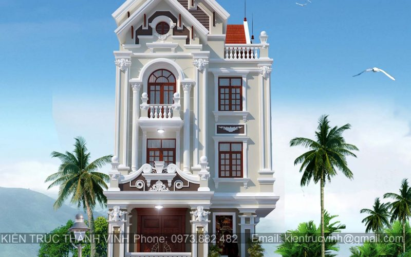 Mẫu biệt thự 4 tầng đẹp tại thành phố Vinh